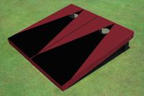 Black And Maroon Matching Triangle No Stripe Custom Cornhole Board