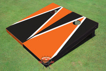 Black And Orange Alternating Triangle Custom Cornhole Board