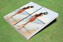 Girl Beach # 2 Custom Cornhole Board