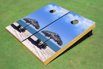 Beach Chairs #1 Cornhole Board Bag Toss set