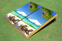 Beach Chairs #5 Custom Cornhole Board Bag Toss Set