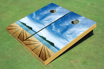 Beach Dock #3 Custom Cornhole Board Bag Toss Set