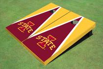 """Iowa State University """"I"""" Red And Yellow Matching Triangle Custom Cornhole Board"""