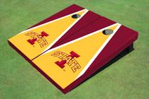 """Iowa State University """"I"""" Yellow And Red Matching Triangle Custom Cornhole Board"""