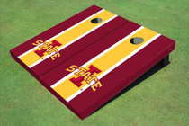 "Iowa State University ""I"" Yellow And Red Matching Long Stripe Cornhole Boards"