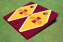 "Iowa State University ""I"" Yellow And Red Matching Diamond Cornhole Boards"
