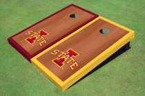 "Iowa State University ""I"" Rosewood Alternating Border Cornhole Boards"