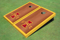 "Iowa State University ""I"" Yellow Rosewood Matching Borders Cornhole Boards"