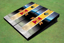 "Iowa State University ""I"" Field Long Strip Matching Yellow Themed Cornhole Boards"