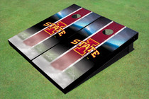 "Iowa State University ""I"" Field Long Strip Matching Red Themed Cornhole Boards"