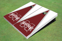 "Mississippi State University ""M"" Maroon And White Matching Triangle Cornhole Boards"