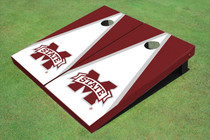 "Mississippi State University ""M"" White And Maroon Matching Triangle Cornhole Boards"