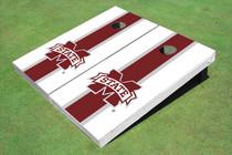 "Mississippi State University ""M"" Maroon And White Matching Long Stripe Custom Cornhole Board"