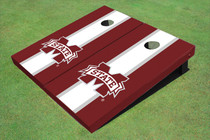 "Mississippi State University ""M"" White And Maroon Matching Long Stripe Custom Cornhole Board"