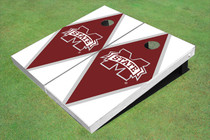 "Mississippi State University ""M"" Maroon And White Matching Diamond Custom Cornhole Board"