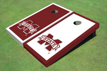 "Mississippi State University ""M"" Alternating Border Cornhole Boards"