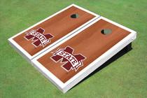"Mississippi State University ""M"" White Rosewood Matching Borders Custom Cornhole Board"
