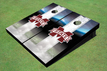 "Mississippi State University ""M"" Field Long Strip Matching White Themed Cornhole Boards"