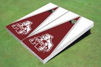 Mississippi State University Bulldog Maroon And White Matching Triangle Cornhole Boards
