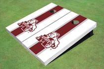 Mississippi State University Bulldog Maroon And White Matching Long Stripe Cornhole Boards