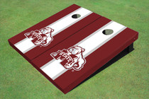 Mississippi State University Bulldog White And Maroon Matching Long Stripe Cornhole Boards