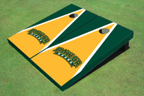Baylor University Arch Yellow And Hunter Green Matching Triangle Custom Cornhole Board