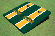 Baylor University Arch Yellow And Hunter Green Matching Long Stripe Custom Cornhole Board
