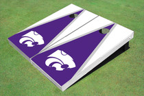 Kansas State University Wildcats Purple And White Matching Triangle Custom Cornhole Board