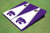 Kansas State University Wildcats White And Purple Matching Triangle Custom Cornhole Board