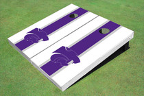 Kansas State University Wildcats Purple And White Matching Long Stripe Custom Cornhole Board