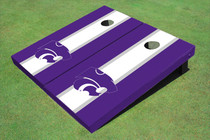 Kansas State University Wildcats White And Purple Matching Long Stripe Custom Cornhole Board