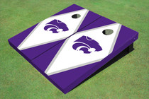 Kansas State University Wildcats White And Purple Matching Diamond Custom Cornhole Board
