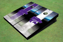 Kansas State University Wildcats Field Long Strip Alternating Custom Cornhole Board