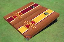 "Iowa State University ""I"" Rosewood Alternating Long Stripe Custom Cornhole Board"