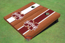 "Mississippi State University ""M"" Rosewood Alternating Long Stripe Custom Cornhole Board"