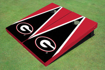 "University Of Georgia ""G"" Black And Red Matching Triangle Custom Cornhole Board"