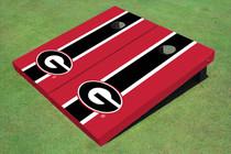 "University Of Georgia ""G"" Black And Red Matching Long Stripe Custom Cornhole Board"