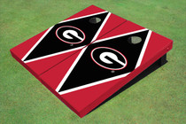 "University Of Georgia ""G"" Black And Red Matching Diamond Cornhole Boards"