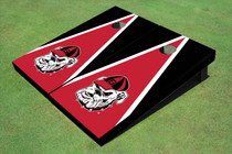 "University Of Georgia ""Hairy Dawg"" Red And Black Matching Triangle Cornhole Boards"
