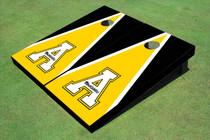 """Appalachian State University """"A"""" Yellow And Black Matching Triangle Custom Cornhole Board"""
