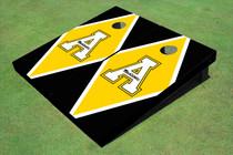 """Appalachian State University """"A"""" Yellow And Black Matching Diamond Custom Cornhole Board"""