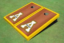 """Appalachian State University """"A"""" Yellow Rosewood Matching Border Borders Custom Cornhole Board"""