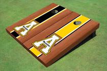 "Appalachian State University ""A"" Rosewood Alternating Long Stripe Custom Cornhole Board"