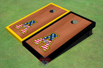 "Appalachian State University Patriotic ""A"" Rosewood Alternating Border Cornhole Boards"