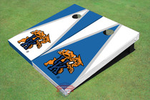 "University Of Kentucky ""Wildcats"" White And Blue Alternating Triangle Custom Cornhole Board"