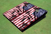 Custom Wavy American Flag Custom Cornhole Board Set