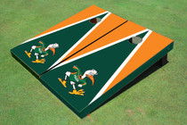 "University Of Miami ""The IBIS"" Green And Orange Matching Triangle Custom Cornhole Board"