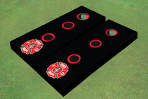 Custom Black With Fire Fighter Maltese Cross Washer Toss Set
