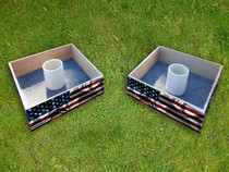 Squared Custom American Waving Flag Washer Toss Set