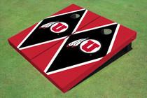 University Of Utah 'U' Black And Red Matching Diamond Custom Cornhole Board